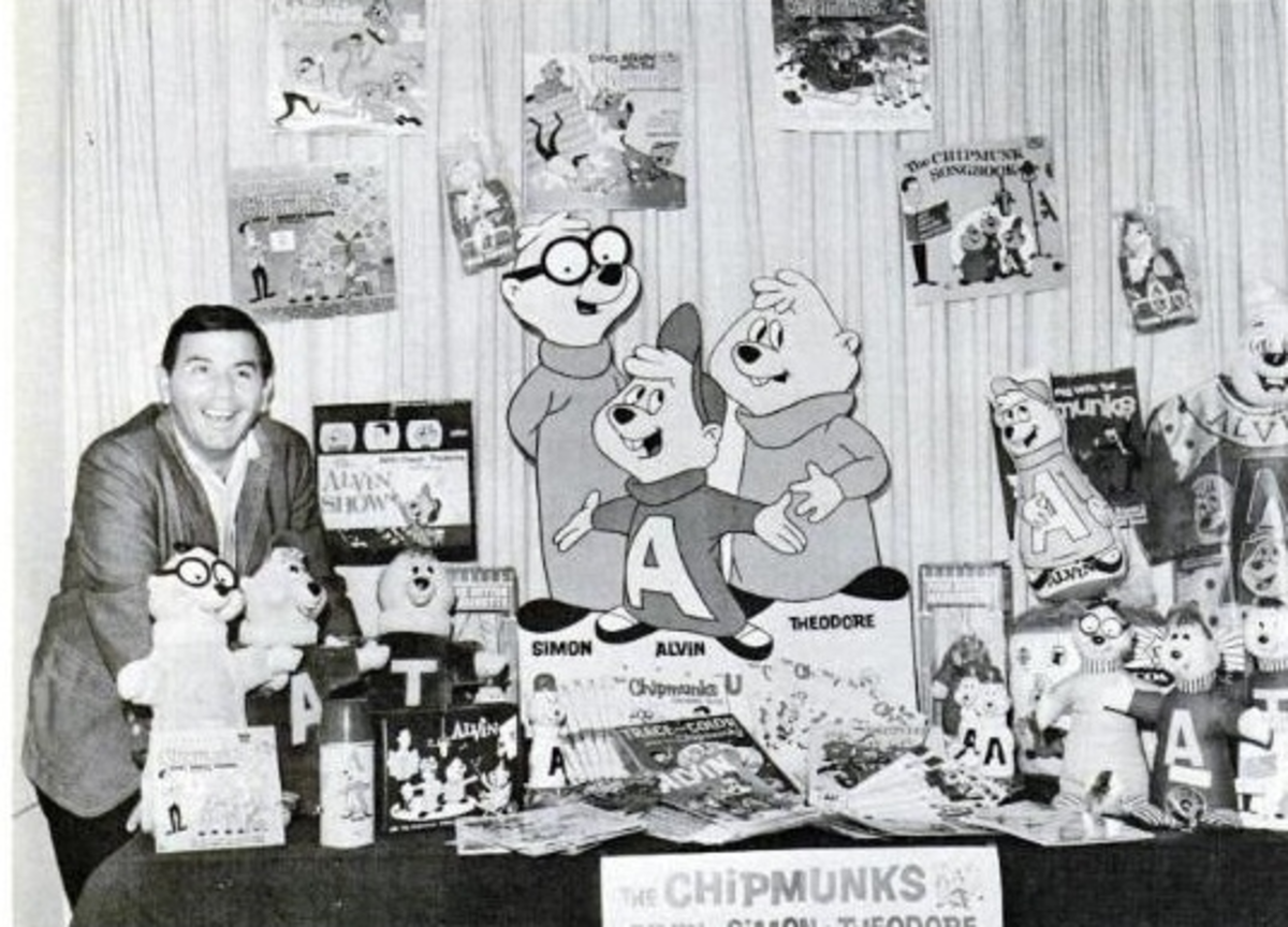 Ross Bagdasarian surrounded by Chipmunks merchandise