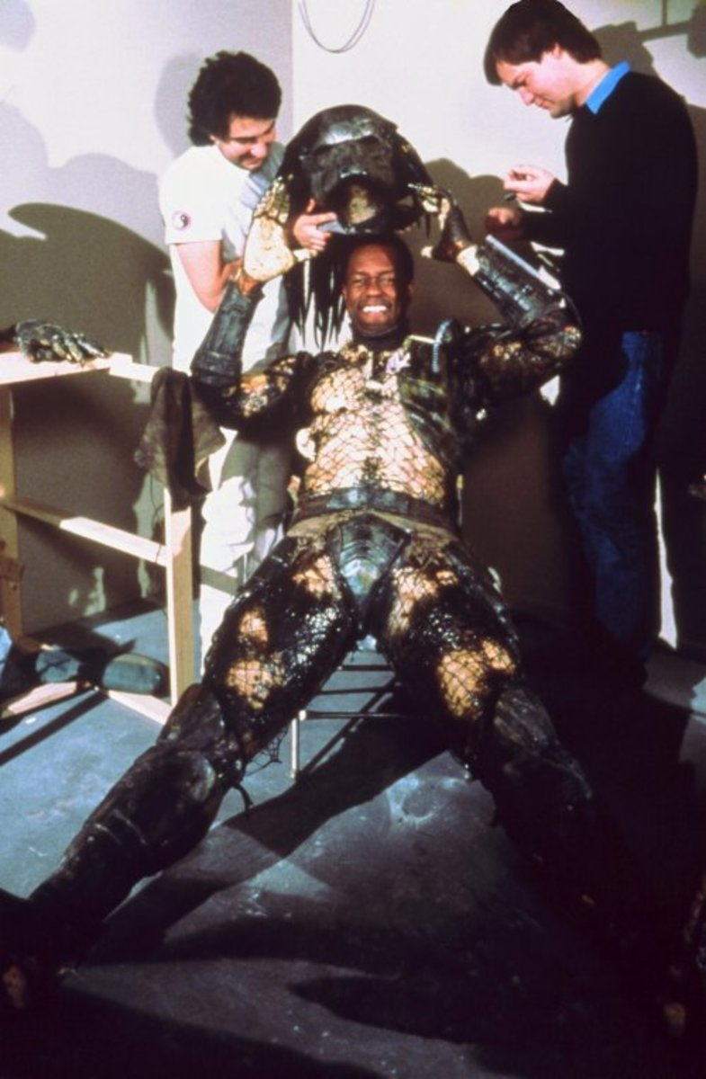 Kevin Peter Hall suiting up as the Predator.