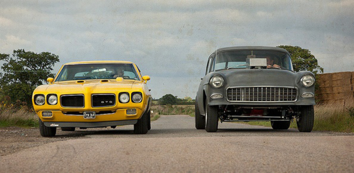 The 1970 Pontiac GTO (L) and The 1955 Chevrolet 150 (R) used in the film.