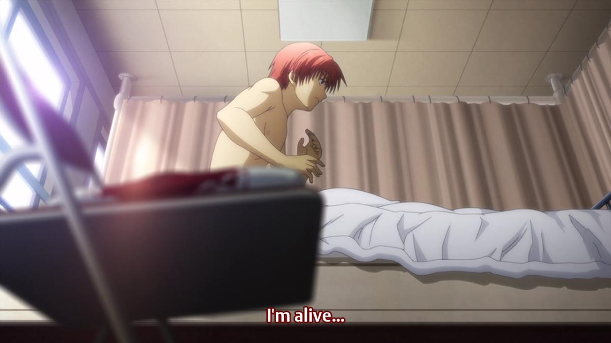 Yuzuro Otonashi, waking up after being killed.