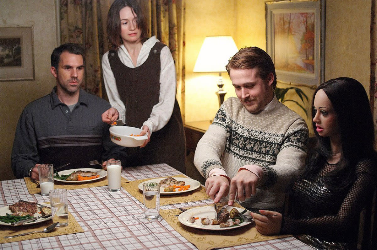 "Paul Schneider, Emily Mortimer, Ryan Gosling, and Bianca in, ""Lars and the Real Girl."""