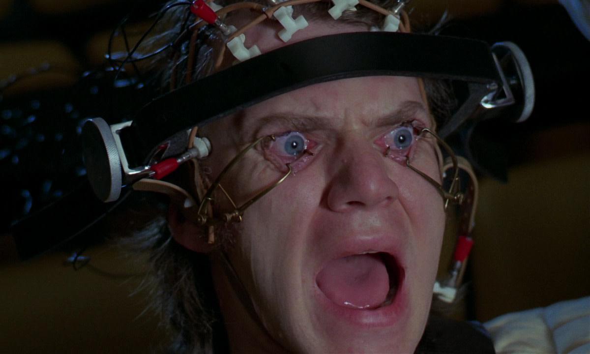 "Malcom McDowell as Alex DeLarge in Stanley Kubrick's, ""A Clockwork Orange."""