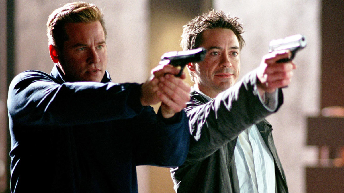 "Gay Perry (Val Kilmer) and Harry Lockhart (Robert Downey Jr) in, ""Kiss Kiss Bang Bang."""