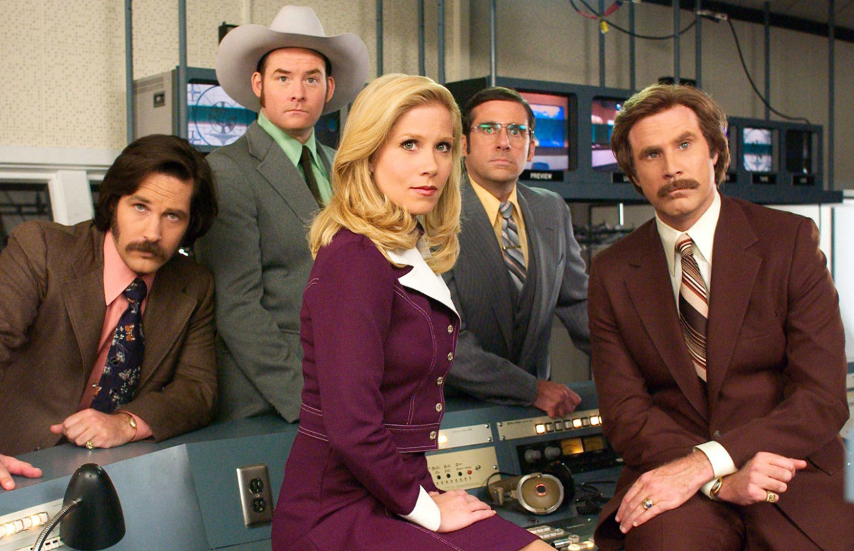 "Paul Rudd, David Koechner, Christina Applegate, Steve Carell, and Will Ferrell in, ""Anchorman: The Legend of Ron Burgundy."""