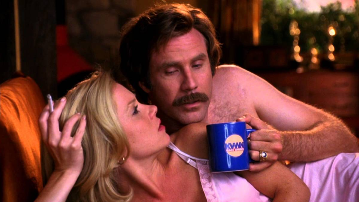 "Christina Applegate and WIll Ferrell in, ""Anchorman: The Legend of Ron Burgundy."""