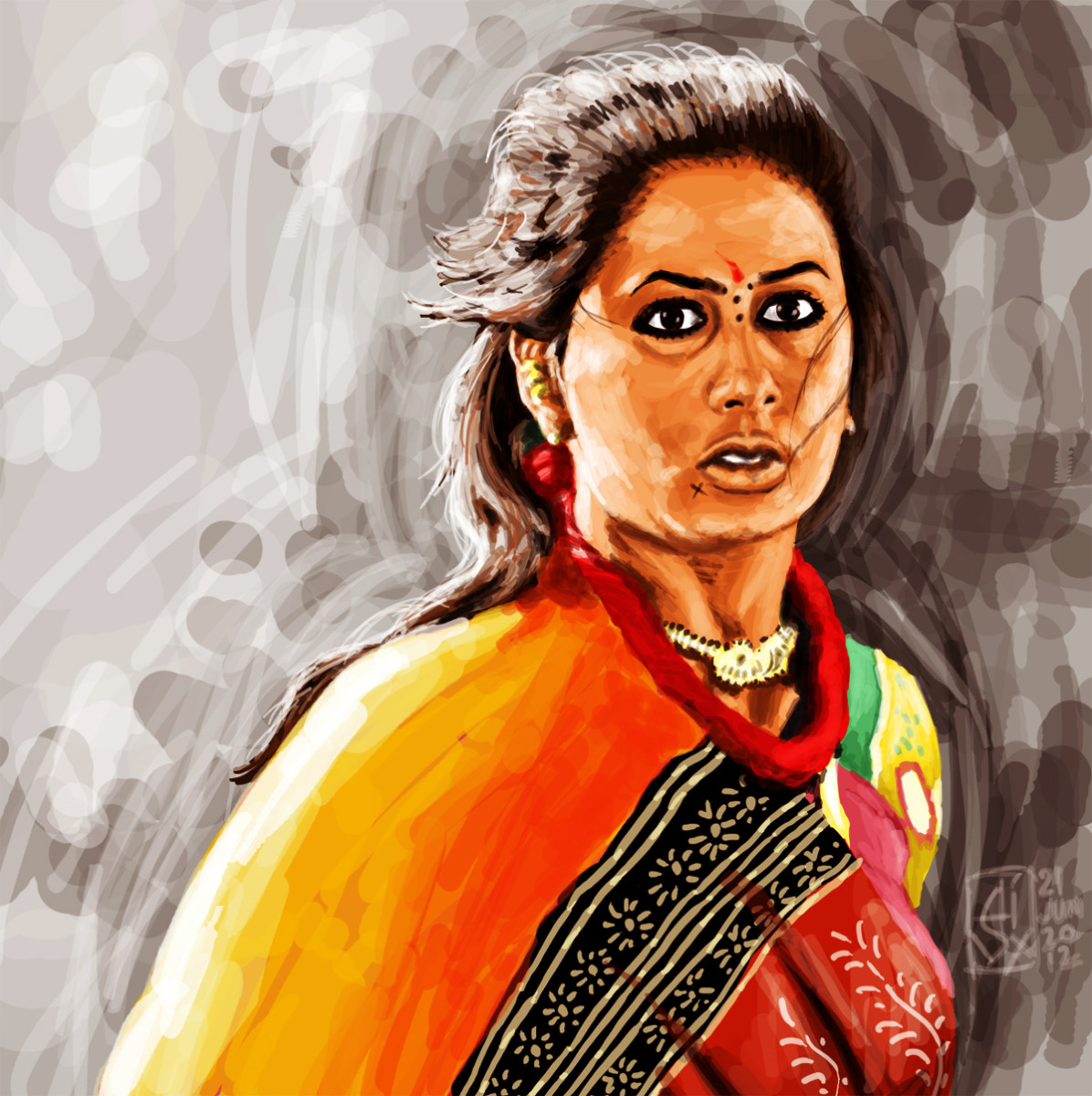 Smita Patil's portrait from the movie Mirch Masala