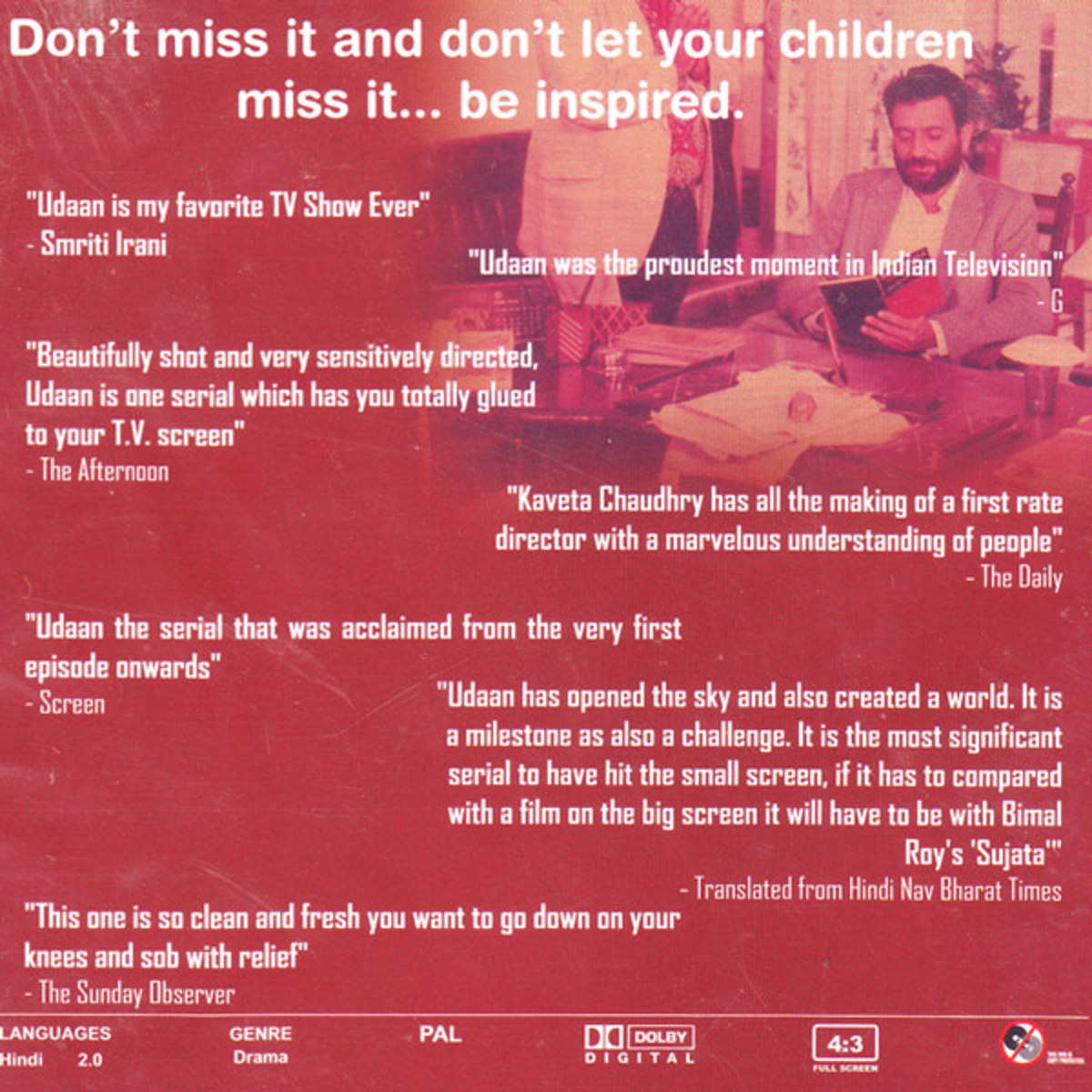 DVD back cover of Udaan