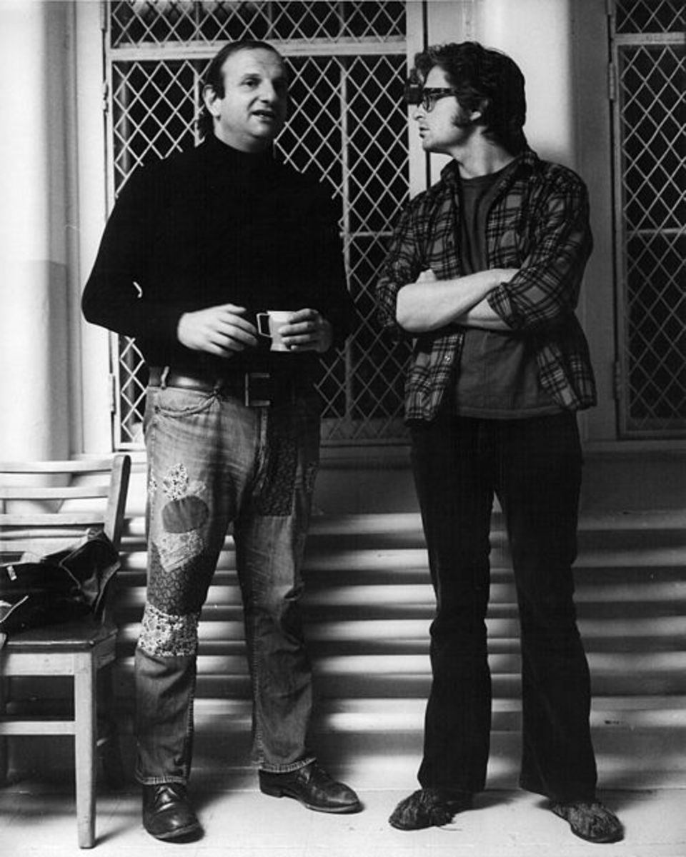 "Bo Goldman with producer Michael Douglas on the set of ""One Flew Over the Cuckoo's Nest."""