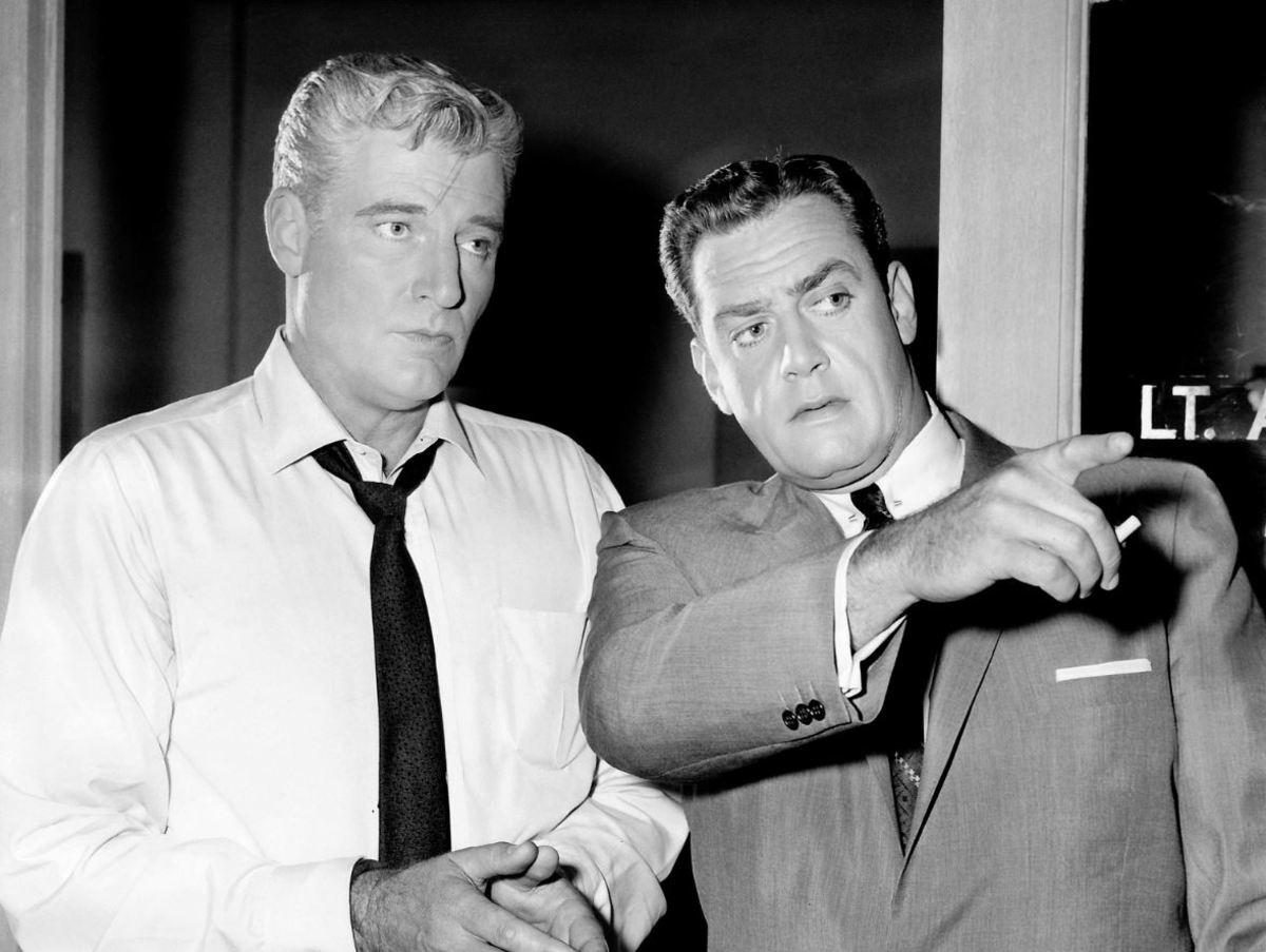 William Hopper (left) with Raymond Burr