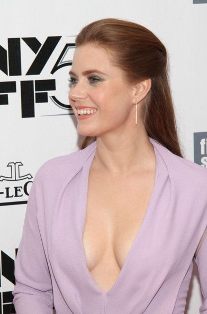 Amy Adams in a purple violet plunging dress