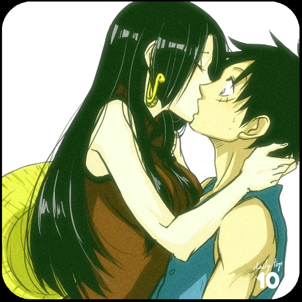 Luffy and Boa Hancock kissing