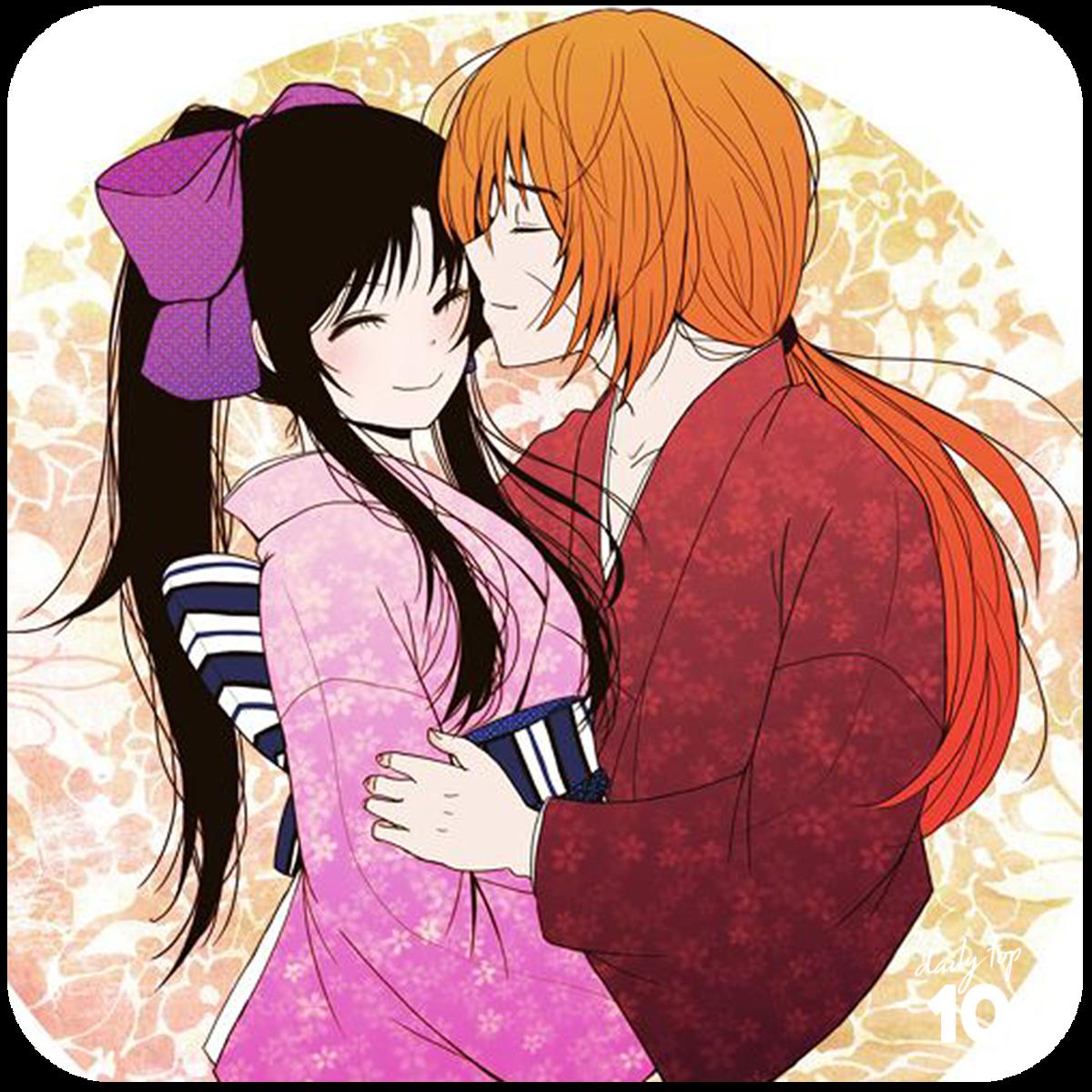 Kenshin kissing Kaoru's forehead