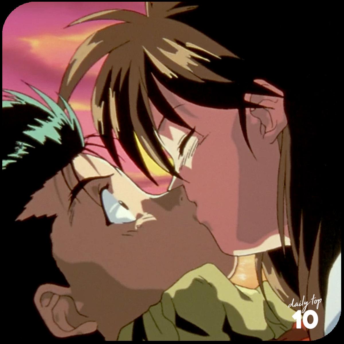 Yusuke and Keiko kissing