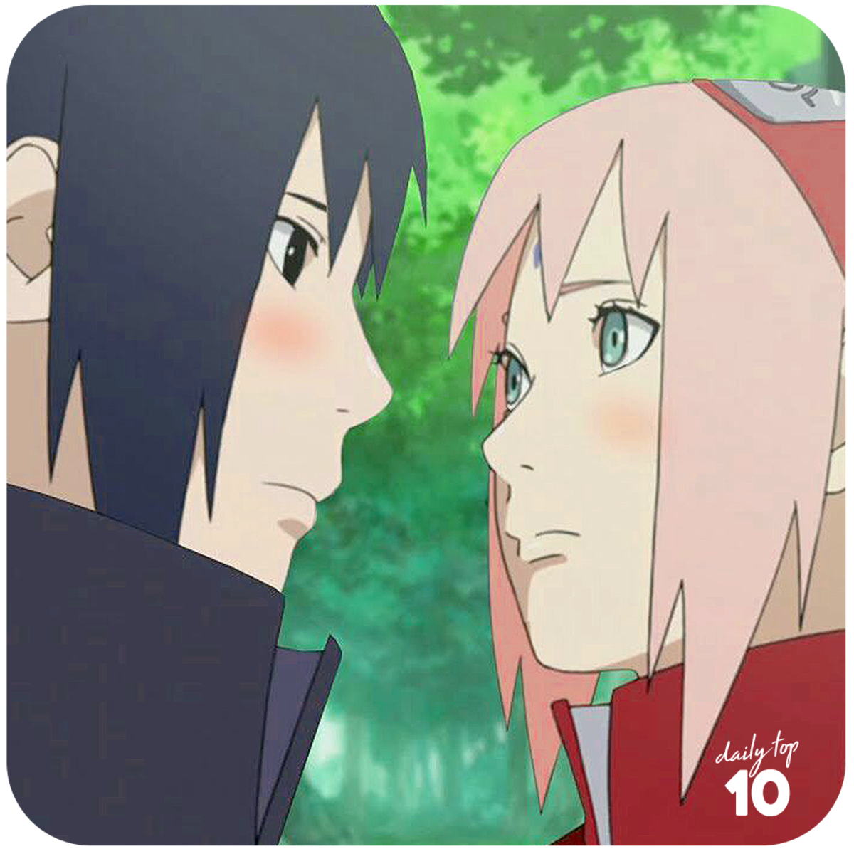 Sasuke and Sakura staring at each other