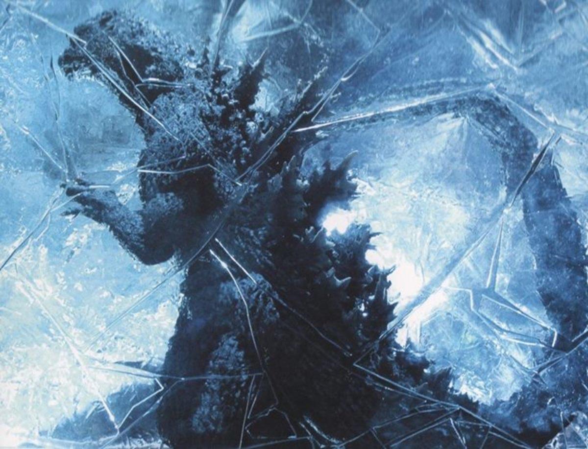 Godzilla frozen in ice