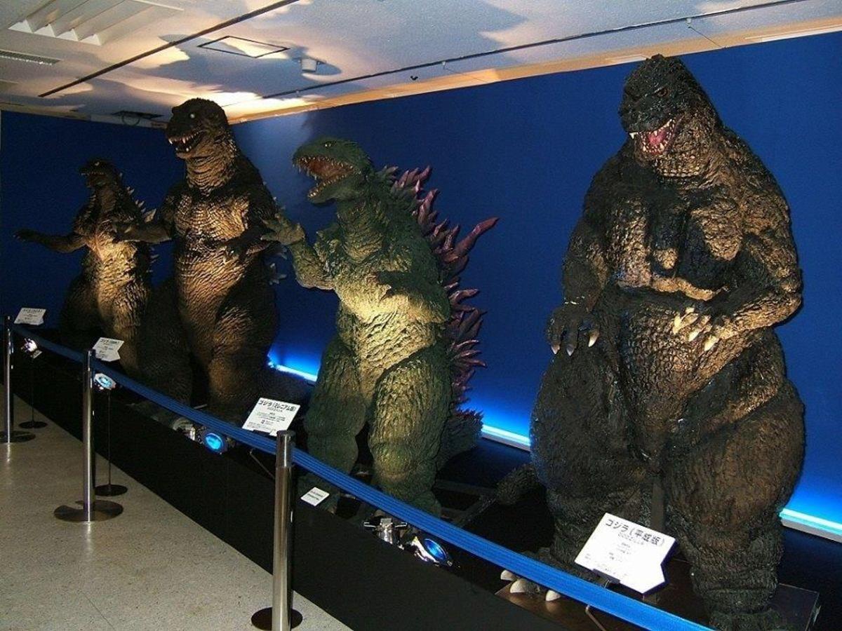 Godzilla suits on display