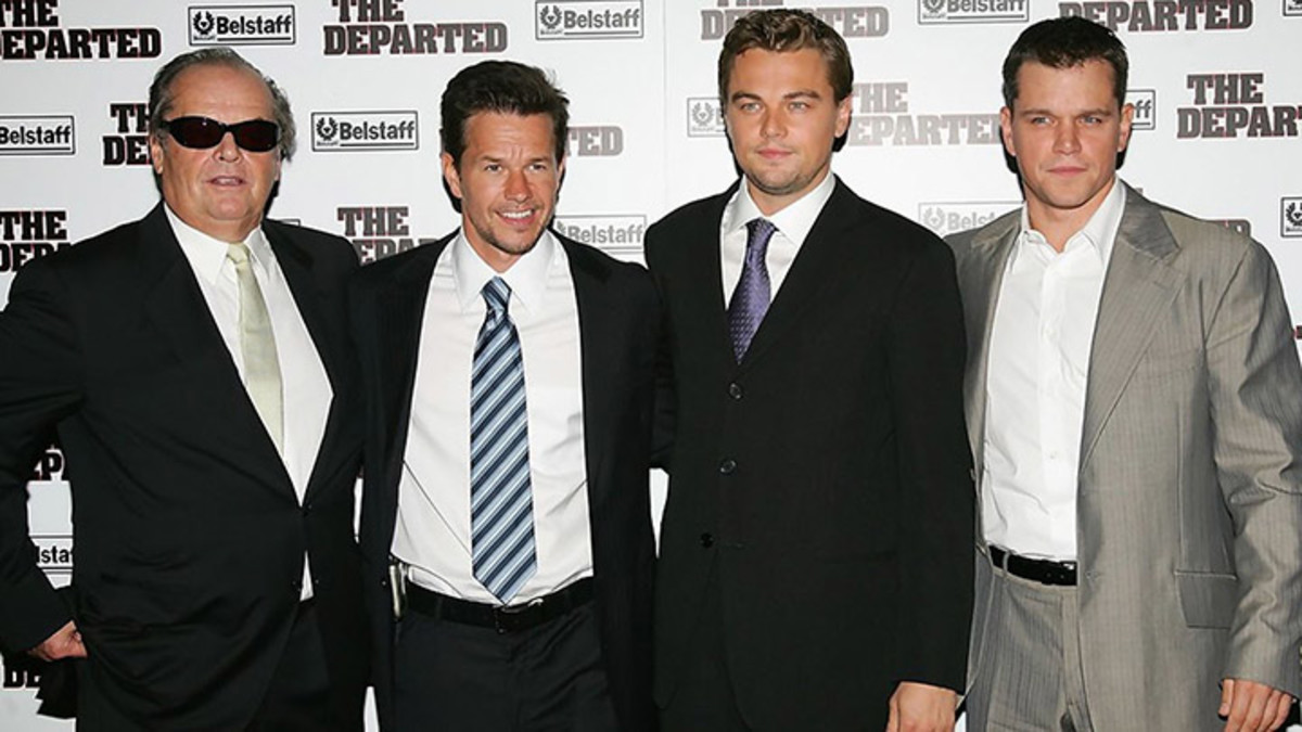 Standing among the shadows of greatness: Jack with The Departed's Mark Wahlberg, Leonardo DiCaprio and Matt Damon.