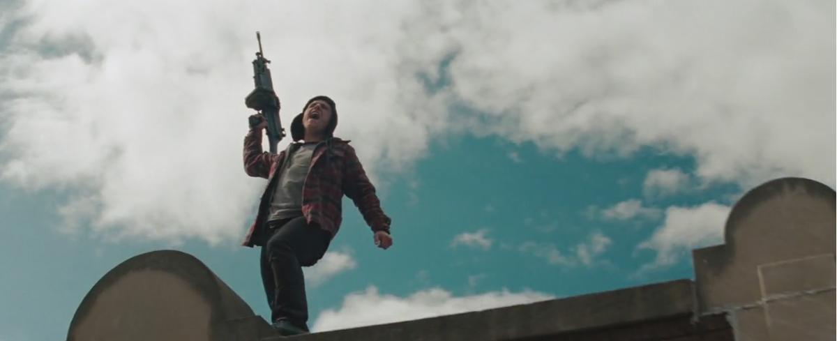 "Robert (Josh Hutcherson) celebrating a ""Wolverine"" victory."