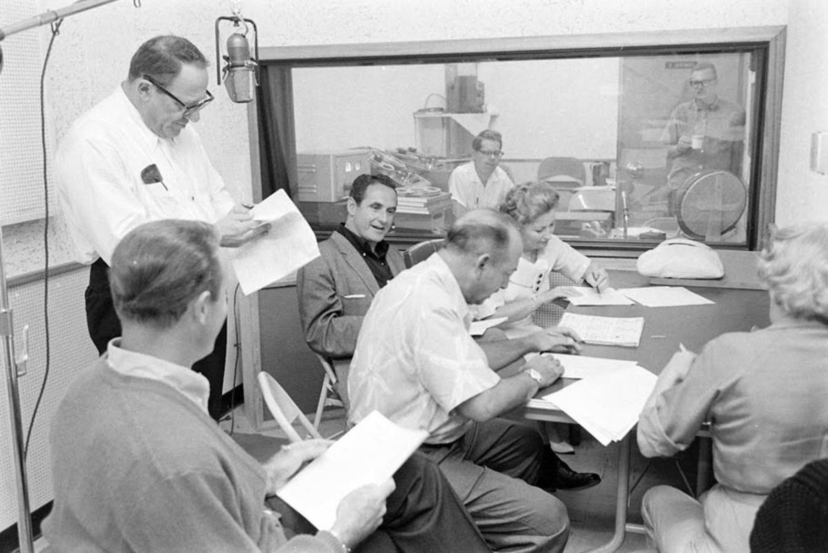 Joe Barbera sits in on a recording session with the four main voice actors