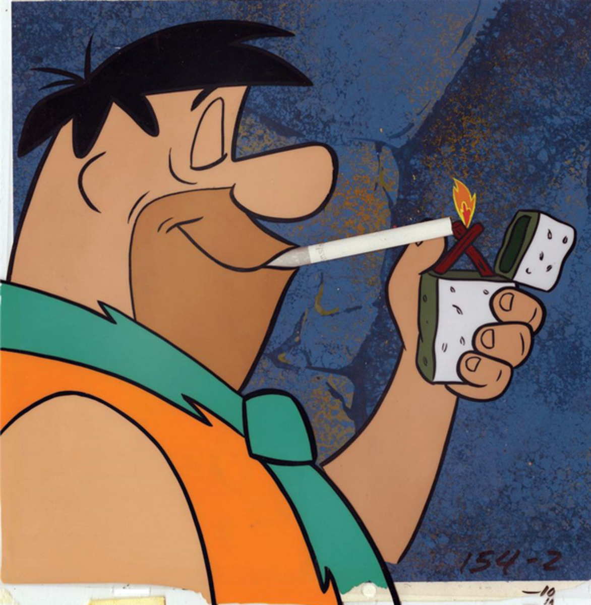Animation cel from one of the Winston Cigarette ads. Note that the ads were produced in color like the rest of the show, even though color versions of the ads have never been seen.