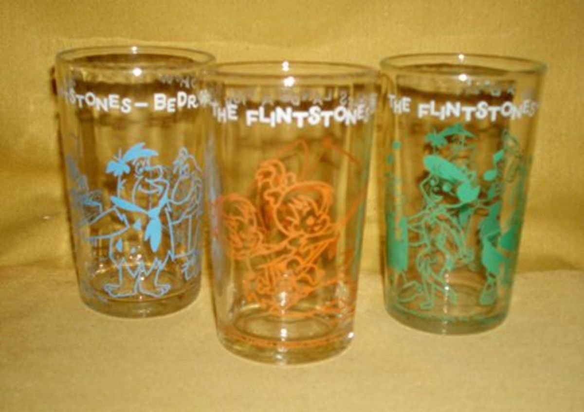Welch's jelly jars featuring Flintstones characters that doubled as drinking glasses