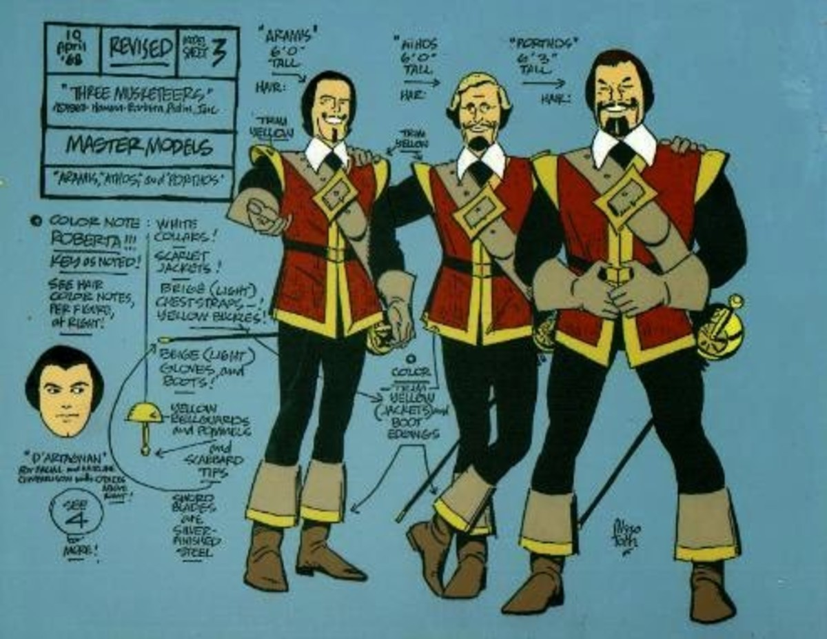 The Three Musketeers, character sheet by Alex Toth.