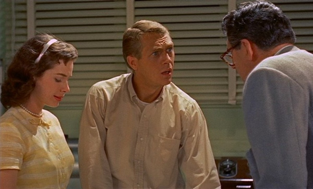 Jane (Aneta Corsaut) and Steve (Steve McQueen) with Dr. Hallen (Stephen Chase)