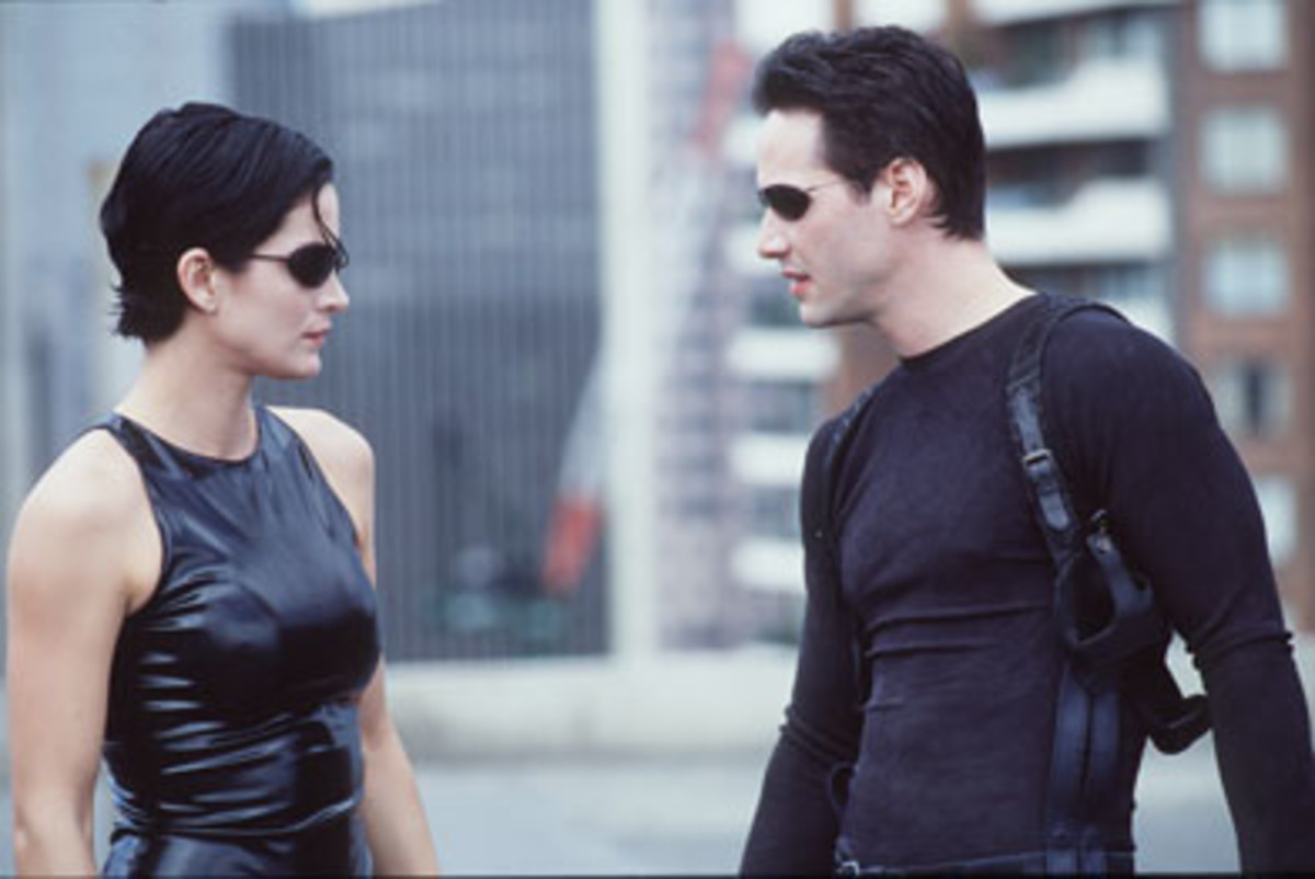 "Moss (left) and Reeves (right) take a breather in ""The Matrix"""