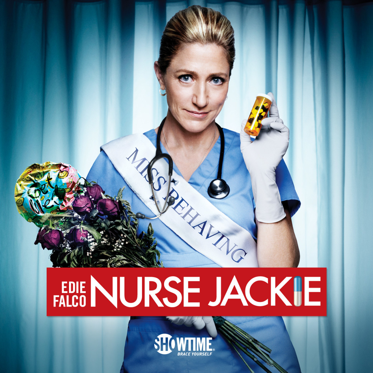 Nurse Jackie stars Edie Falco as an emergency room nurse who is addicted to drugs.
