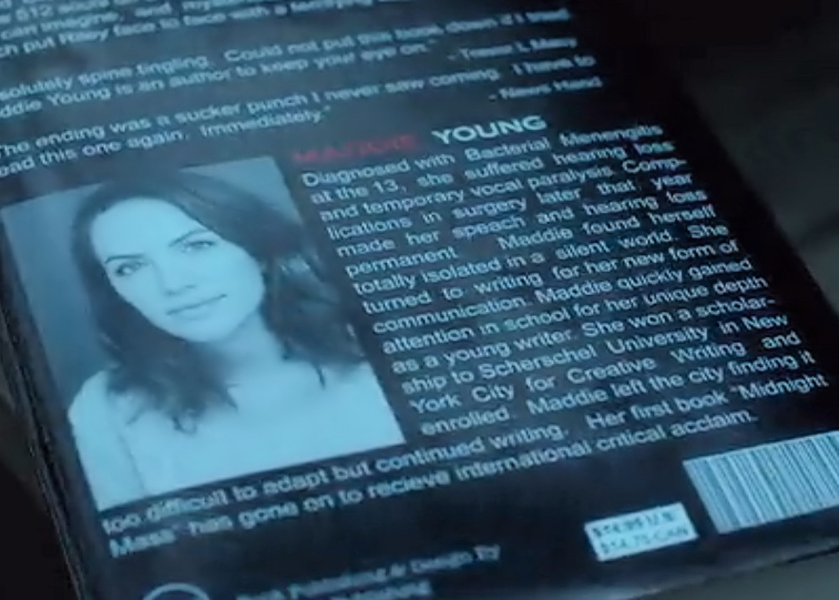 Back cover of the fictional book in 'Hush' (2016) on Netflix.
