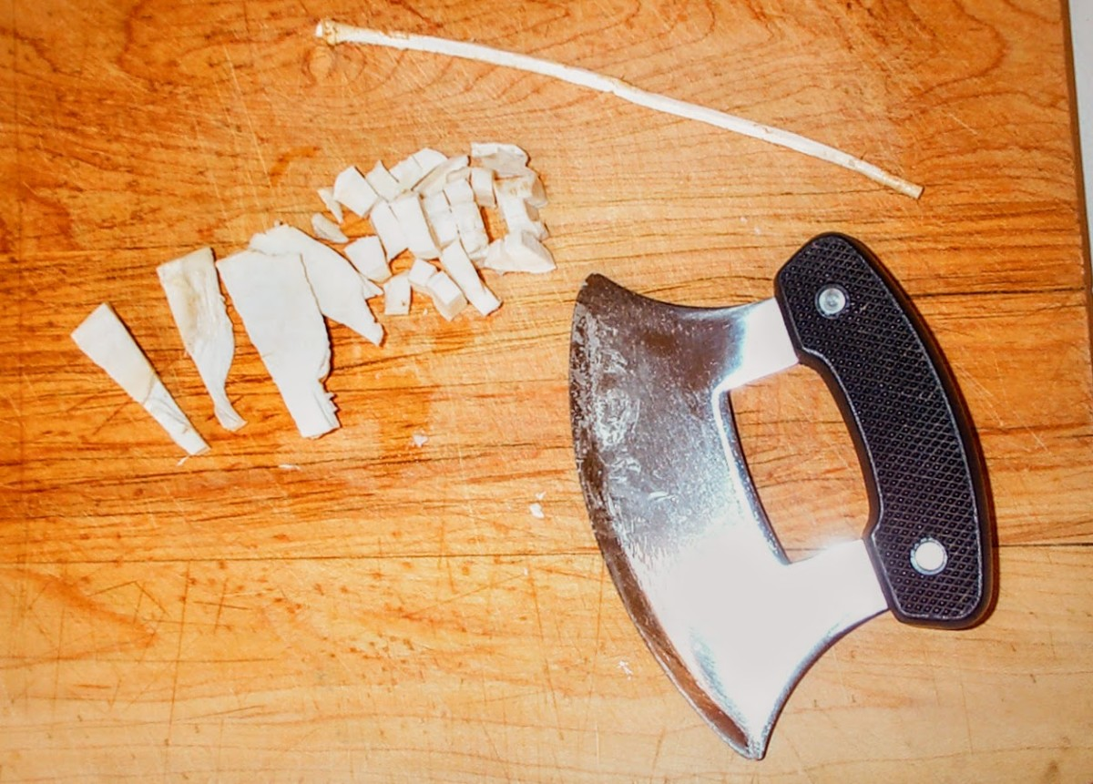 An ulu makes equally quick work of tough roots such as horseradish, which must be roughly chopped before being ground in a traditional grinder, or minced in a food processor.