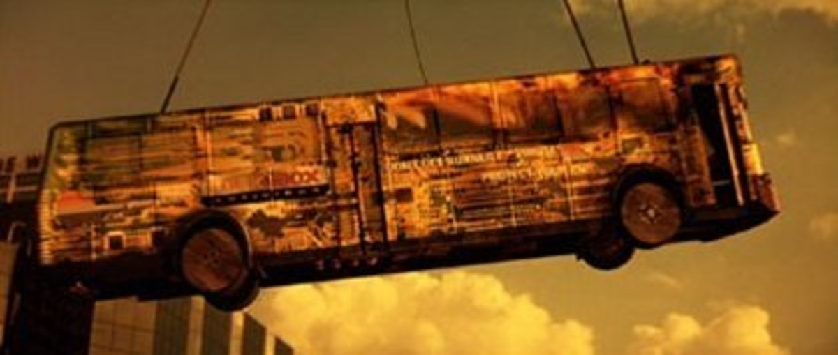 A shot from the impressive flying bus sequence at the end of the film
