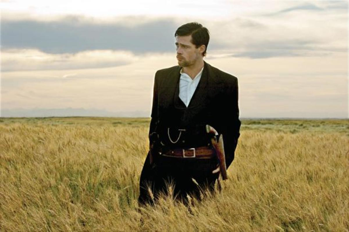Brad Pitt portrays the outlaw Jesse James in The Assassination of Jesse James by the Coward Robert Ford.