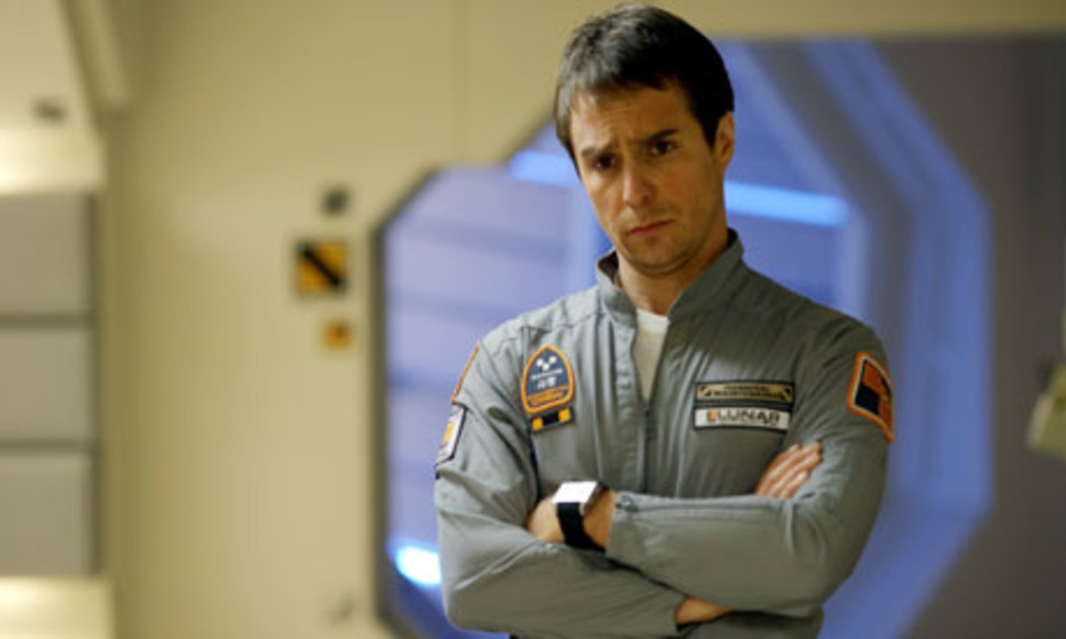 """This is the last time I let the robotic arm cut my hair."" Sam Rockwell contemplating in Moon."