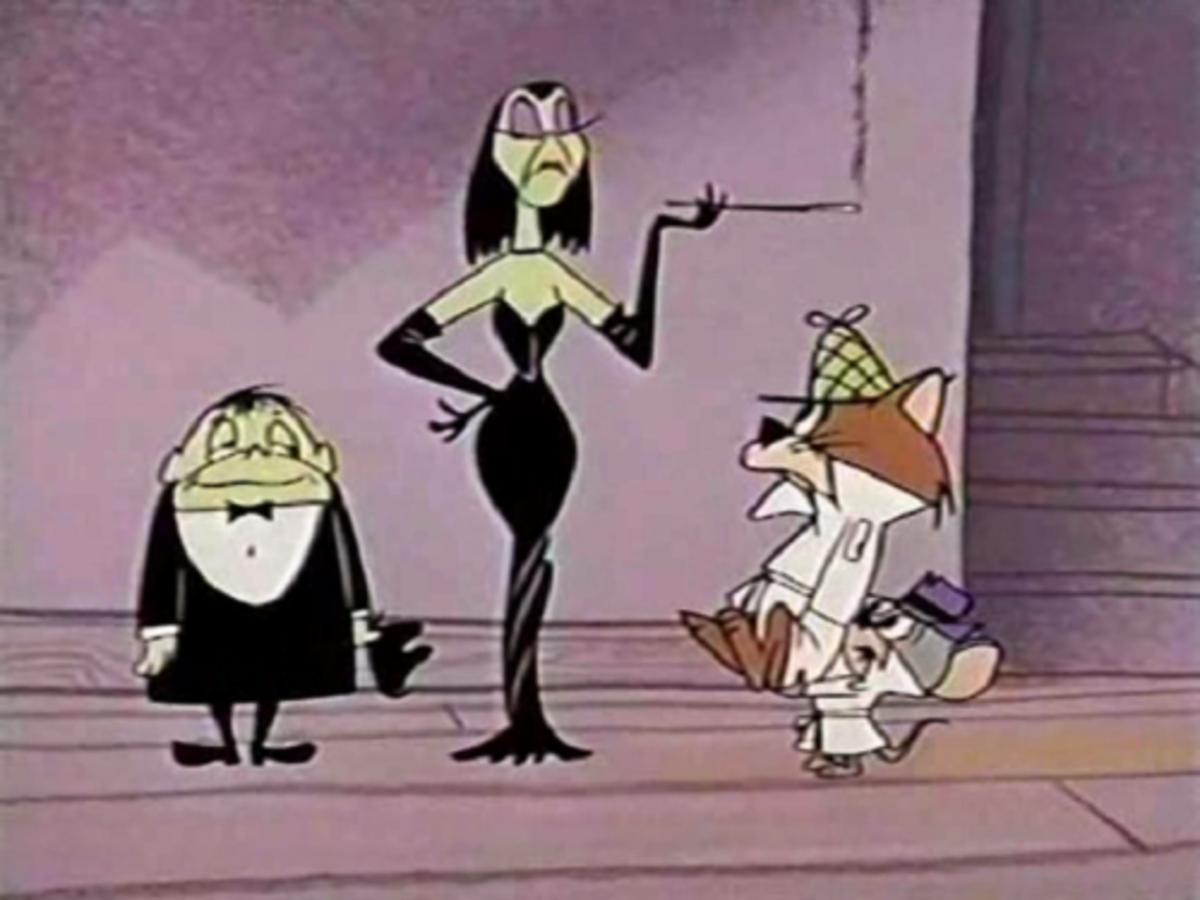 Snooper and Blabber face Mr. and Mrs. Evil J. Scientist