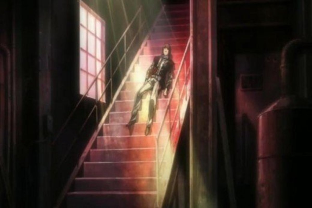 Light's symbolic death in the middle of a flight of stairs