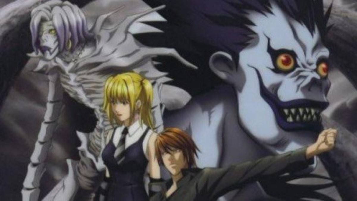 Light Yagami and Amane Misa, together with the shinigamis respectively associated with them, Ryuk and Rem