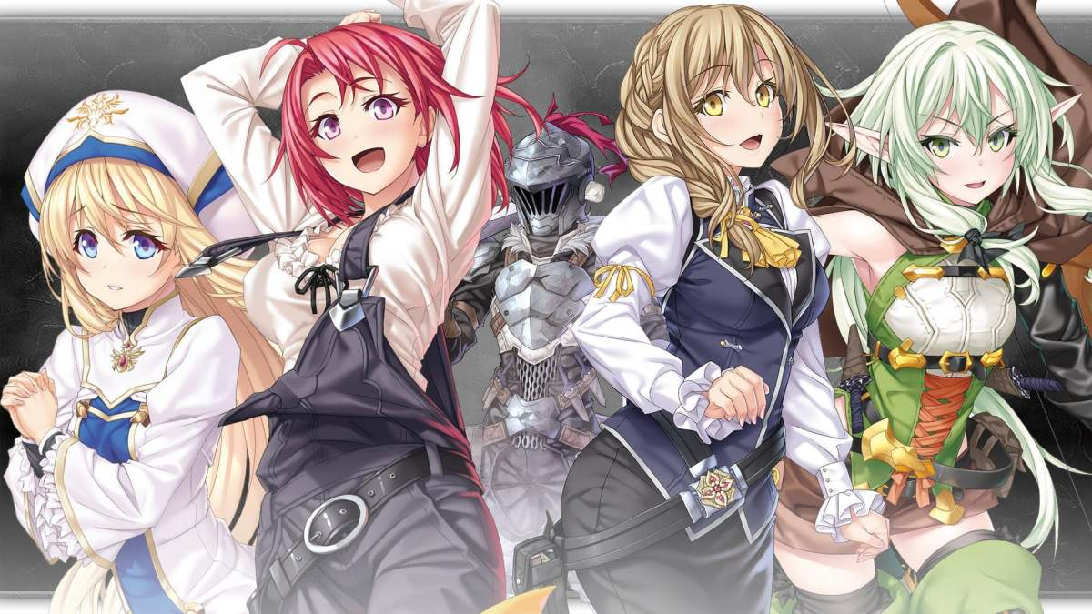 L to R: Priestess, Cow Girl, Guild Girl, and High Elf Archer, with Goblin Slayer in the background.