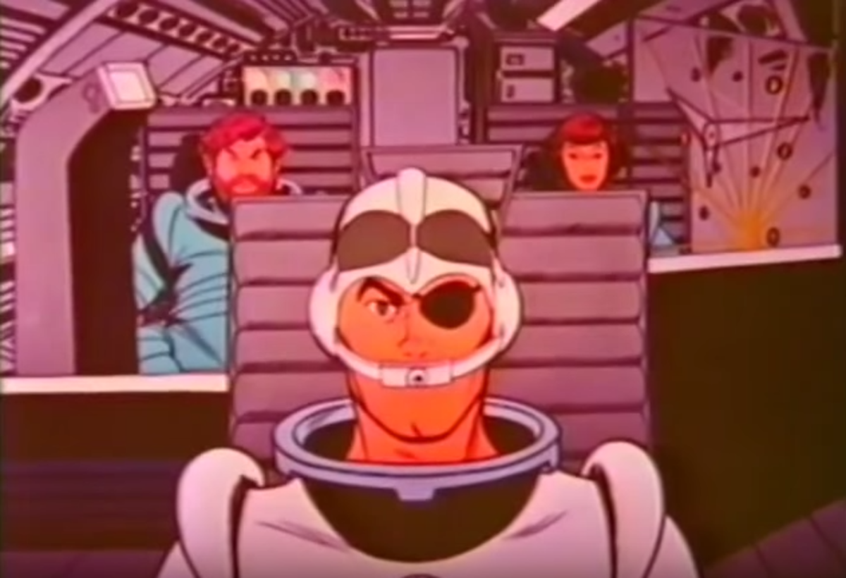 The crew of the the Starduster: Scott McCloud (front), Taurus (back left), and Crystal Mace (back right)