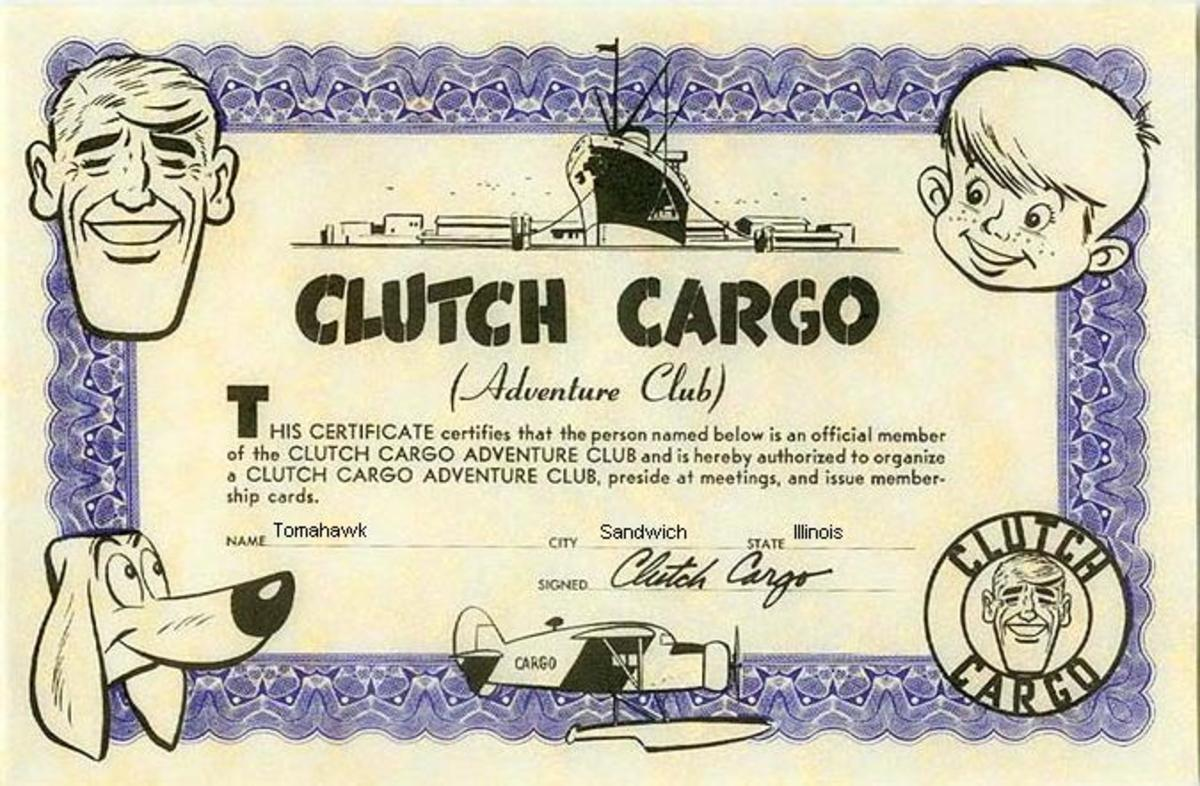 Certificate from the official Clutch Cargo Adventure Club