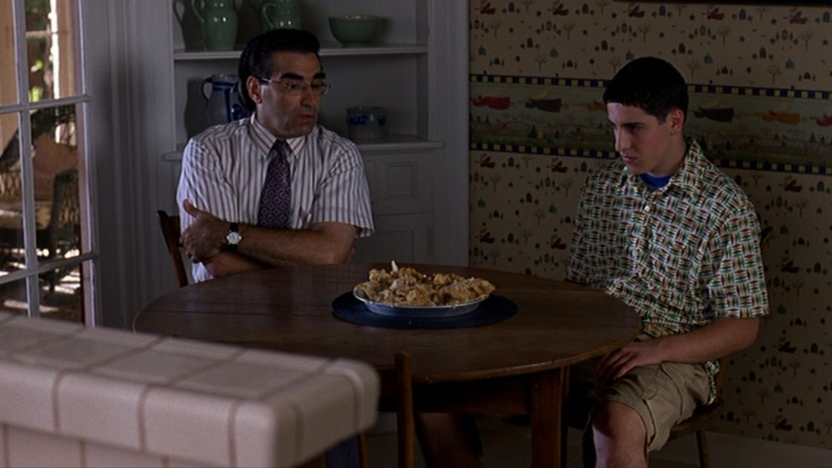 Levy (left) is perfectly cast as the embarrassing father caught up in his son's sexual exploits.