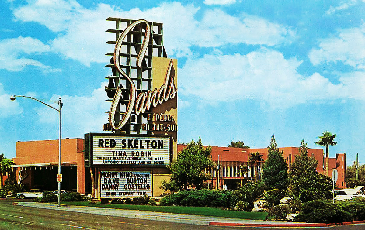 The Sands hotel, complete with a cameo by Red Skelton, was one of five casinos knocked off in the film.