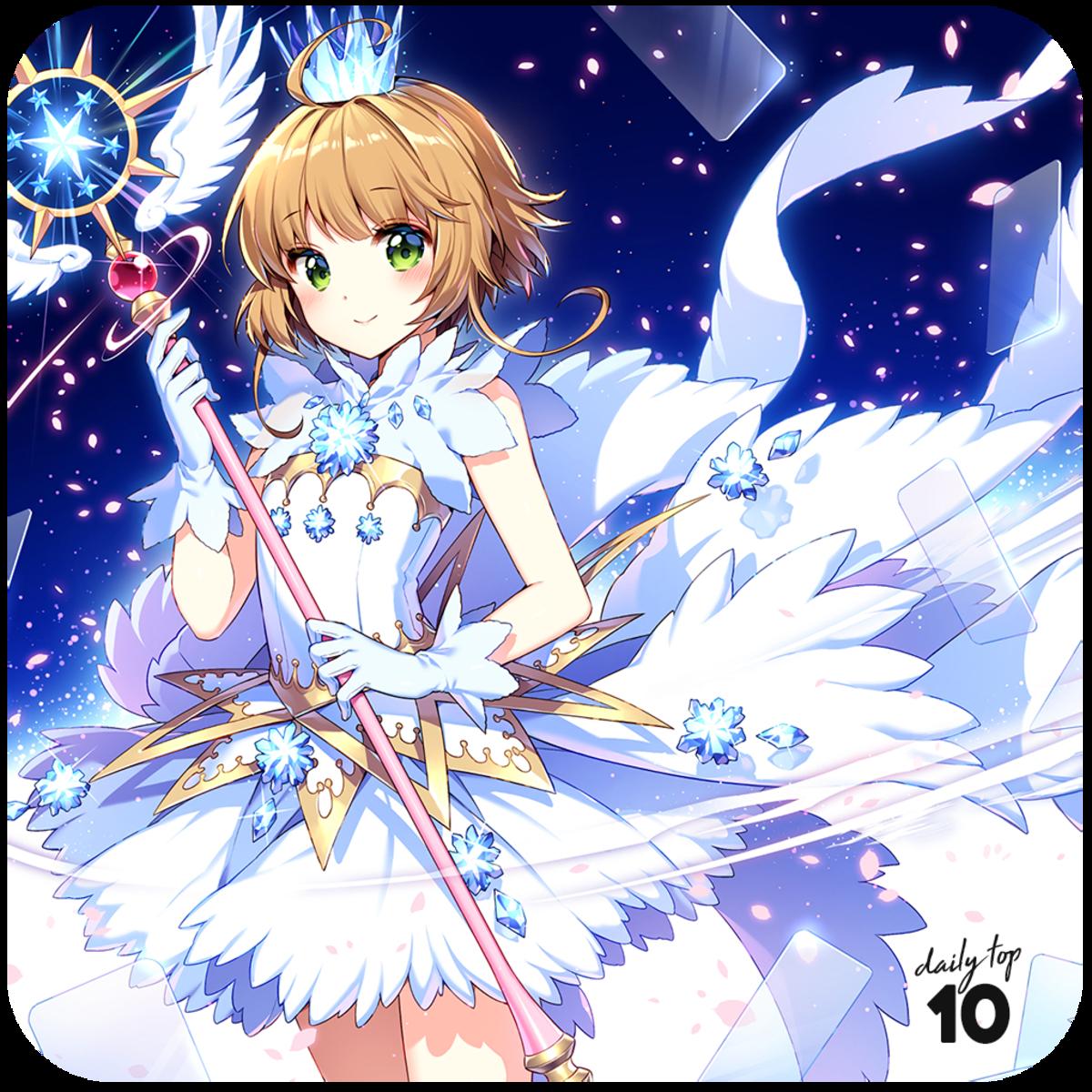 Sakura wearing an angelic costume.