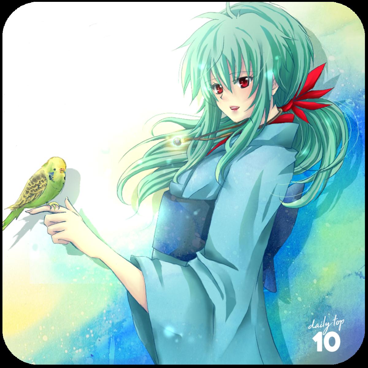 Yukina with a cute bird.