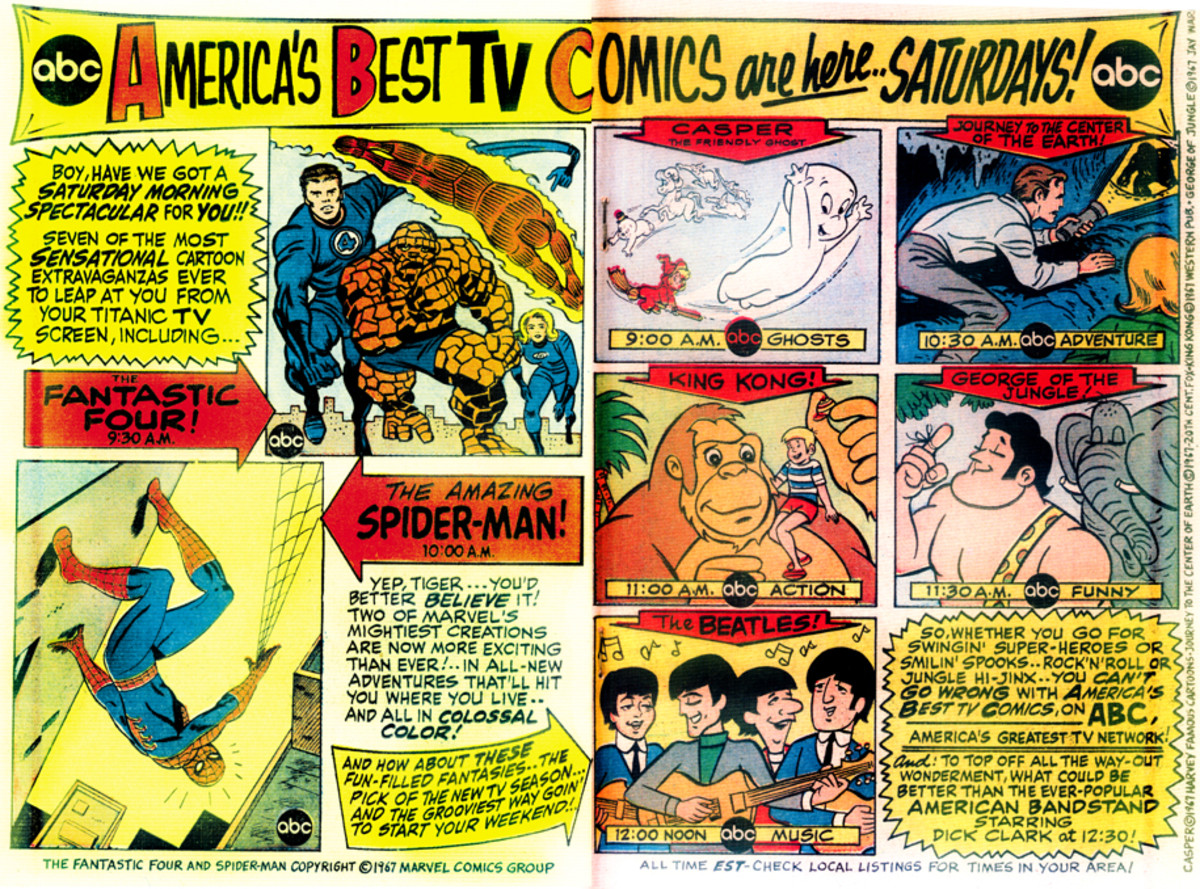ABC's Saturday morning lineup for 1967, with Spider-Man prominently featured.