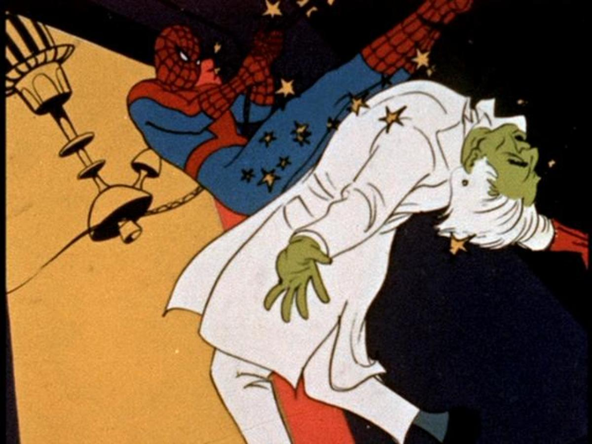 Spidey kicking the Master Technician, one of the original villains created in season 2, and an example of the show's many green-skinned creations.