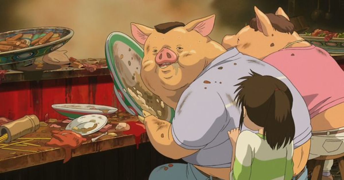 Chihiro's parents being transformed into pigs in the spiritual world