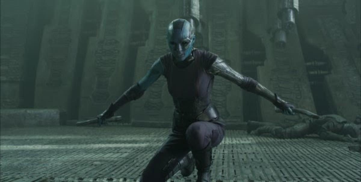 "Former ""Dr Who"" assistant Karen Gillian is almost unrecognisable as Nebula"