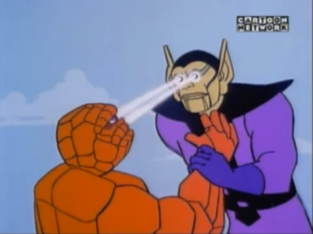 The Thing facing off with the Super-Skrull