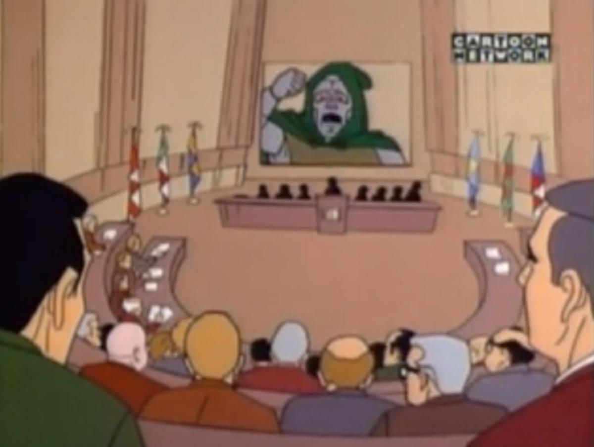 Doctor Doom addressing the United Nations